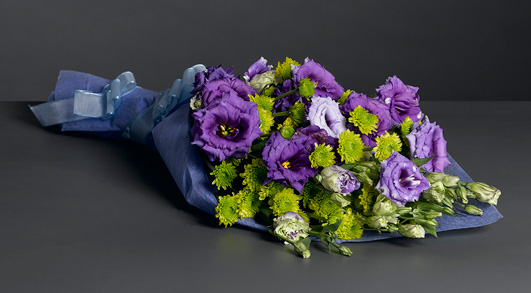 Luxurious Bouquet of blue lisanthus and green poms