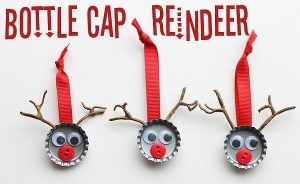 Don't toss your old bottle caps. Turn them into Prancer, Dancer, and Rudolph ornament SourceThe Country Chic Cottage