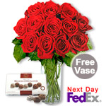 One Dozen Long Stem Roses & Chocolates