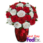 2 Dozen Long Stem Red & White Roses & Chocolates