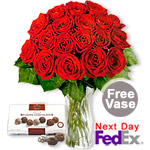 12+6 Long Stem Red Roses & Chocolates