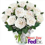 One Dozen Long Stem White Roses