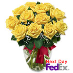 One Dozen Long Stem Yellow Roses