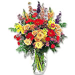 Bouquet of assorted flowers with vase