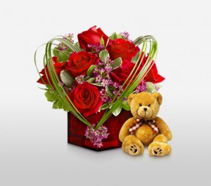 Romantic Valentine's Ruby Cube Arrangement