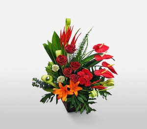 Anthurium, Bird Of Paradise, Roses, Carnations, Gerberas And Lilies For The Special Women