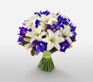 Blue Iris And White Lilies For Dad