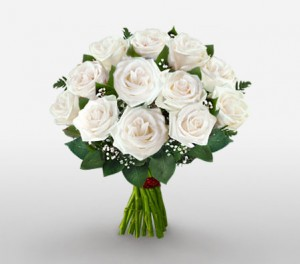 Hand Tied Bouquet Of Pure White Roses