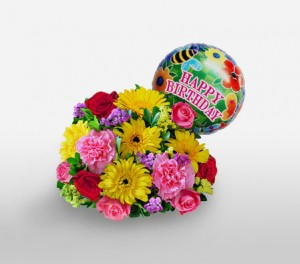 'Happy Birthday' Mixed Flowers Bouquet