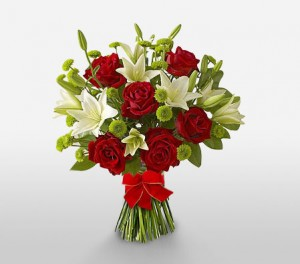 Lush Red Roses & Pure White Lilies