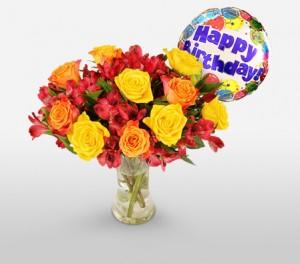 Mix Flowers Happy Birthday Bouquet