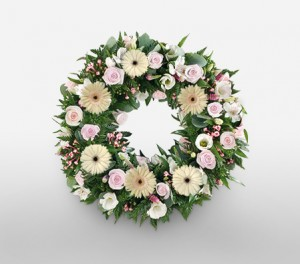 Peace Wreath of Delicate White And Pink Roses