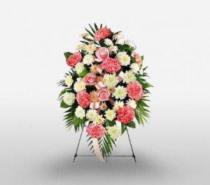 Standing Spray Of Pink Carnations & Roses With White Chrysanthemums