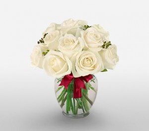 White Roses With Seeded Eucalyptus