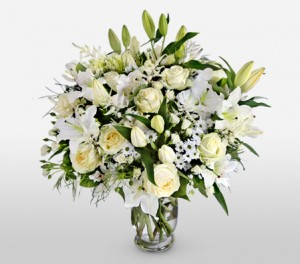 Lilies, Astilbe, Chrysanthemum and Roses For Funeral