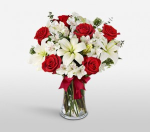 Red Roses And White Asiatic Lilies