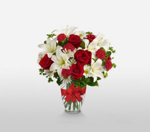 Dawning Glory Glorious Red & White Arrangement