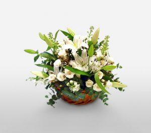 White Haven White Flower Basket