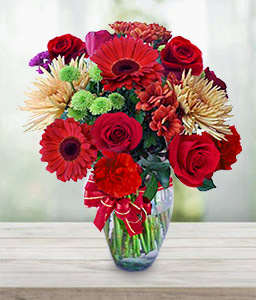 Anniversary Flowers-Green,Mixed,Red,Yellow,Rose,Mixed Flower,Gerbera,Daisy,Chrysanthemum,Bouquet