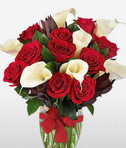 Sweet Splendor-Red,White,Rose,Lily,Bouquet