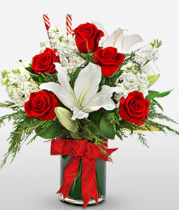 Love Blooms-Red,White,Lily,Rose,Arrangement