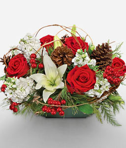 Holiday Wishes-Green,Red,White,Lily,Rose,Centerpiece,Arrangement,Basket