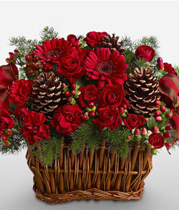Christmas Basket-Red,Carnation,Mixed Flower,Rose,Arrangement,Basket