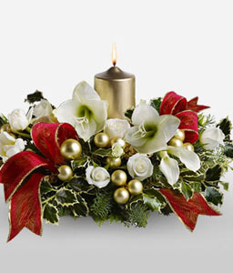 Gilded Christmas Centerpiece-Mixed,White,Lily,Mixed Flower,Rose,Candle,Centerpiece,Arrangement