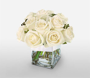 Maid in White-White,Rose,Arrangement