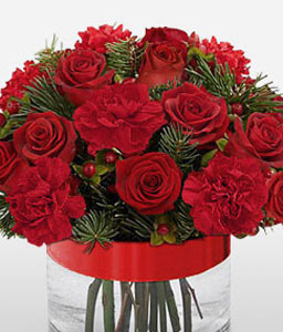Crimson Desire-Green,Red,Carnation,Rose,Arrangement