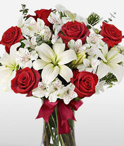 Expression Of Joy-Mixed,Red,White,Lily,Mixed Flower,Rose,Bouquet