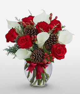 Ange Beaute <Br><Font Color=Red>Red & White Flower Arrangement - Free Vase</Font>