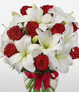 Regina-Red,White,Lily,Rose,Arrangement