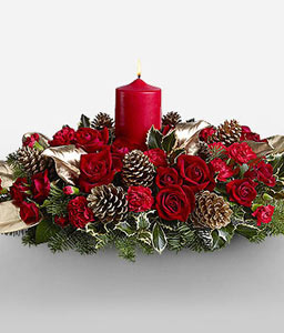 Luminous Christmas Centerpiece-Green,Red,Carnation,Rose,Candle,Centerpiece,Arrangement