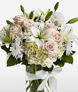 Condolence Flowers-Mixed,White,Hydrangea,Lily,Mixed Flower,Rose,Arrangement,Bouquet