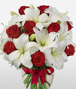 Scarlet Snow-Red,White,Lily,Rose,Arrangement