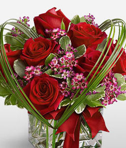 Ruby Cube <Br><Font Color=Red>Heart Shaped Rose Arrangement</Font>