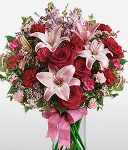 Blushing Blooms-Mixed,Pink,Red,Lily,Rose,Bouquet