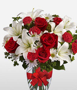 Pearly Corals-Red,White,Mixed Flower,Lily,Carnation,Rose,Arrangement