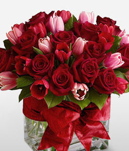 Love Trove-Pink,Red,Rose,Tulip,Arrangement