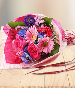 Pink And Blue Fleurs-Blue,Pink,Purple,Daisy,Gerbera,Rose,Bouquet