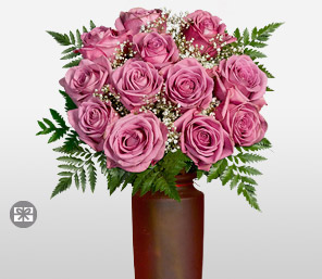 Nymph 12 Coolwater Lavender Roses Free Frosted Vase-Pink,Rose,Arrangement