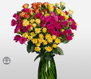 Fantasia-Orange,Pink,Red,Yellow,Rose,Arrangement