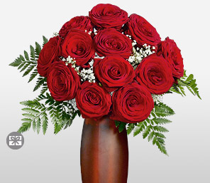 Siren <Font Color=Red>12 Red Roses & Free Frosted Vase </Font>