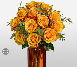 Aureola - 12 Cherry Brandy Roses-Orange,Yellow,Rose,Arrangement