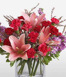 Delightful Roses And Carnations-Mixed,Pink,Red,Carnation,Lily,Mixed Flower,Rose,Arrangement