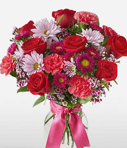 Regality-Purple,Red,Carnation,Rose,Bouquet