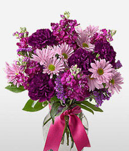 Poetic Note-Purple,Carnation,Daisy,Mixed Flower,Arrangement