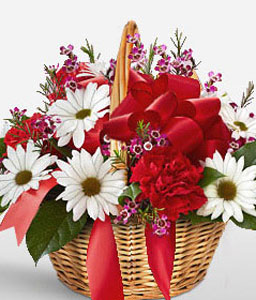 Mixed Flowers In Basket-Mixed,Red,Yellow,Carnation,Daisy,Basket