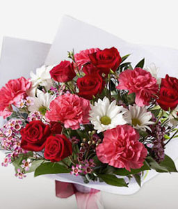 Ruby Bouquet-Mixed,Pink,Red,White,Mixed Flower,Daisy,Carnation,Rose,Bouquet